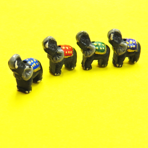 Teeny Tiny Elephant Ceramic Bead; 9mm - 1 piece