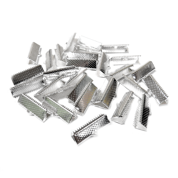Iron Ribbon Ends, Silver Plated-28x5mm; 30pcs