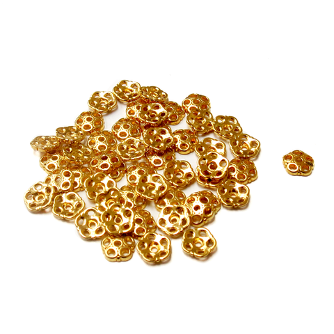 Flower End Caps, Gold- 8mm; 50pcs