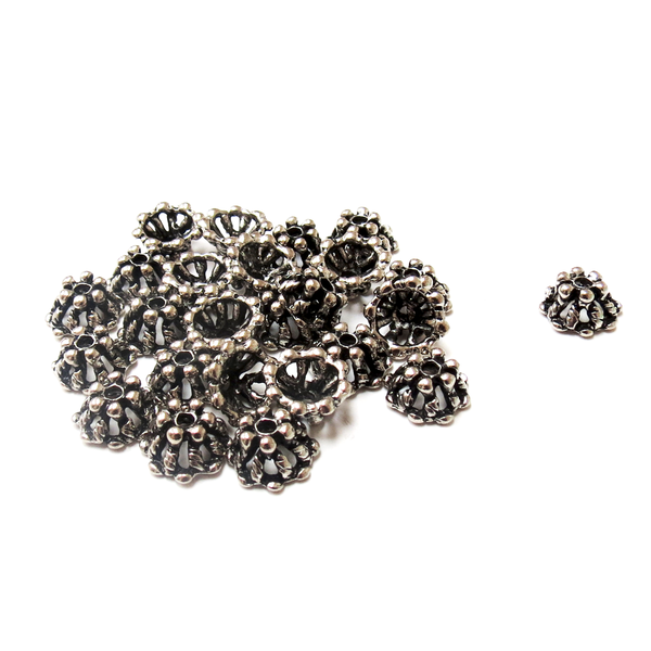 Daisy Bead Caps, Alloy Antique Silver-5x9mm; 25pcs