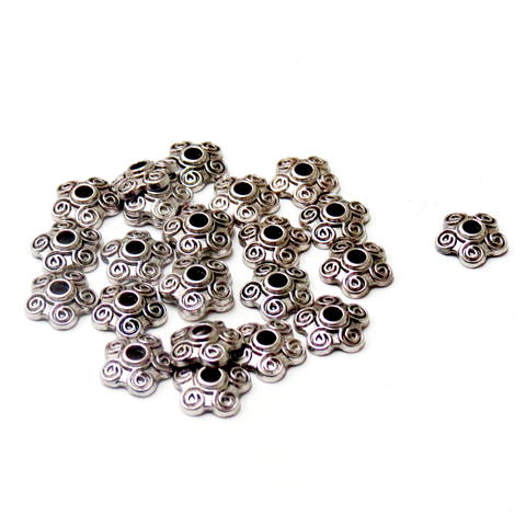 Flower Bead Caps, Antique Silver- 10mm; 25pcs