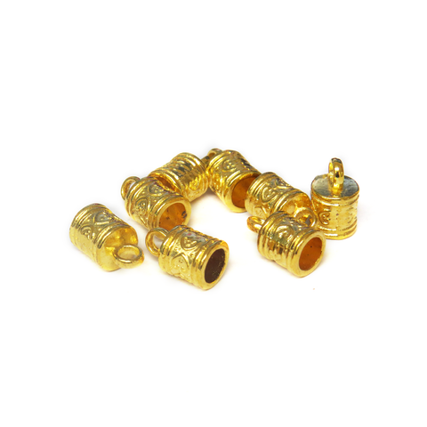 End Cord, Gold, 9x9mm; 8 pieces