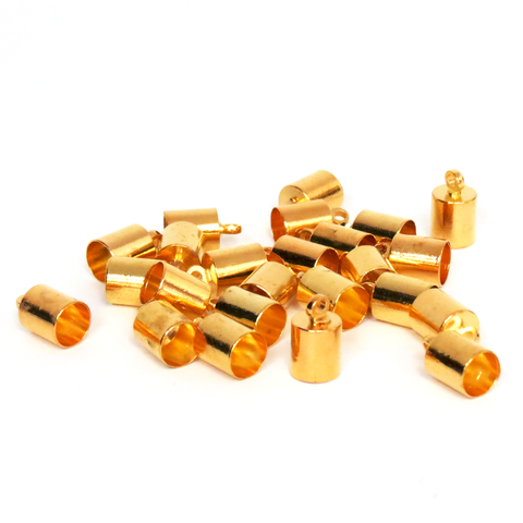 End Cord, Gold Plated Brass-9x6mm; 24pcs