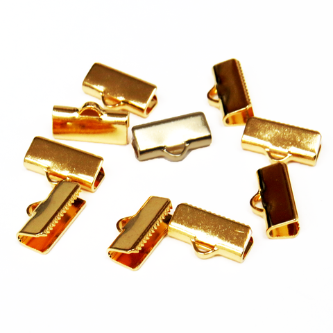 Ribbon Ends,Smooth Rectangle, Gold Plated Brass-13x5mm; 10pcs