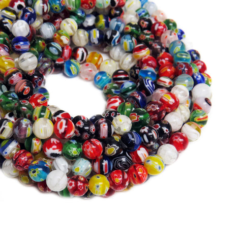 Large Round Millefiori, Multicolor, 10mm, 1 strand