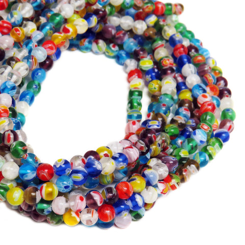 Medium Round Millefiori, 8mm, Multicolor, 1 strand