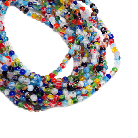 Small Round Millefiori, 6mm, Multicolor, 1 strand