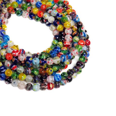 Mini Round Millefiori, 4mm, Multicolor, 1 Strand