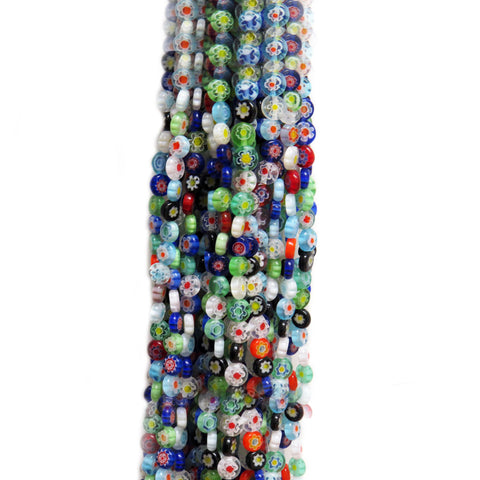 Tiny Flat Round Millefiori, Multicolor, 6mm, 1 strand