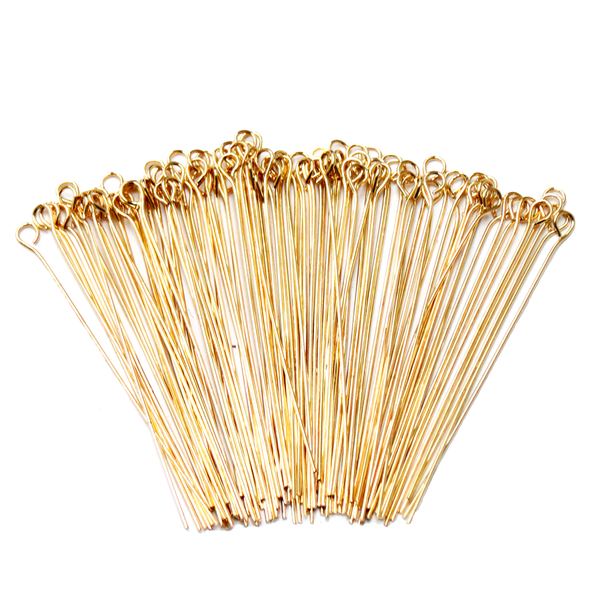 "Eyepin, Gold Plated Brass-2"" approx.; 100pcs"