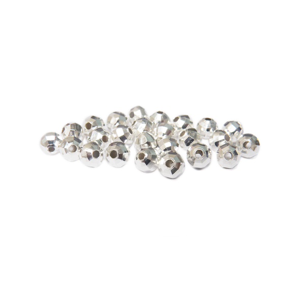 Faceted Spacer, Silver Plated Brass, 6mm; 25 pieces