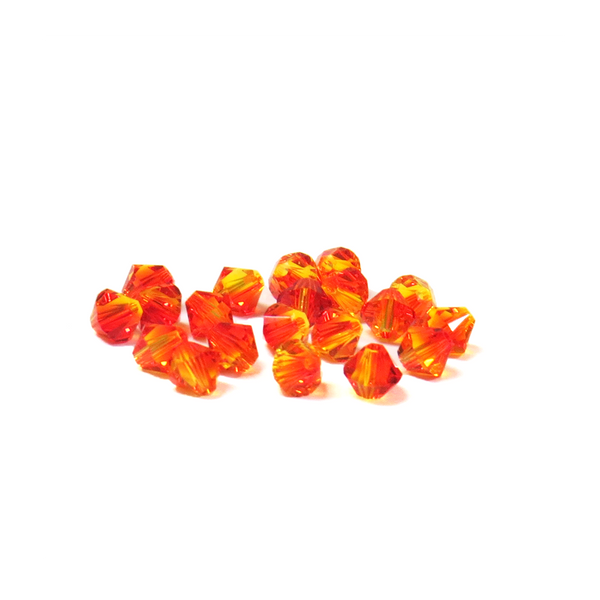 Swarovski Crystal, Bicone, 4mm - Fire Opal AB 20 PCS