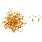Iron Fish Hooks with ball, Gold; 50pcs