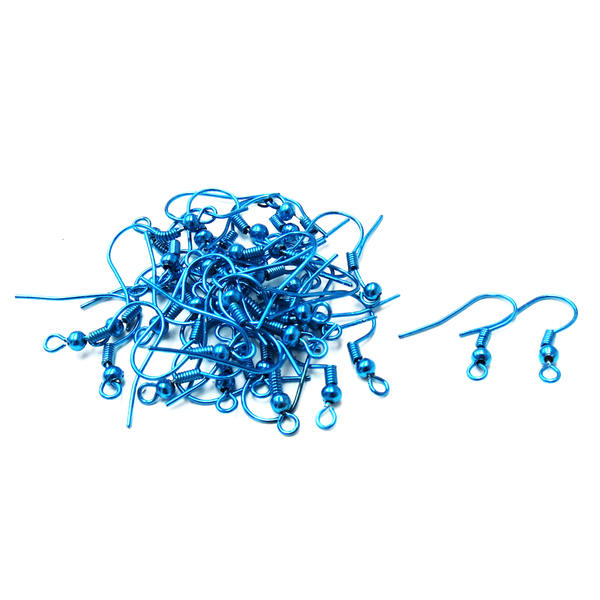 Fish Hooks, Brass- Sky Blue; 40pcs