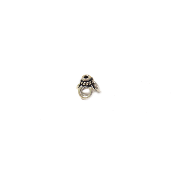 Flower End Cap, Sterling Silver, 6mm - 1 piece