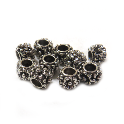 Flower Spacer, Silver, 8x6mm - 10 Pieces