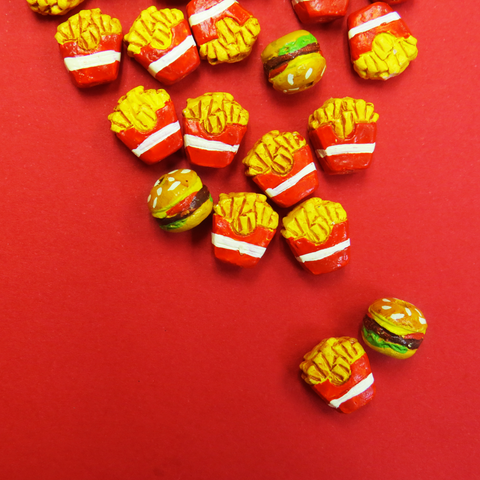 Teeny Tiny Ceramic Fries Beads- 9mm; 1 piece