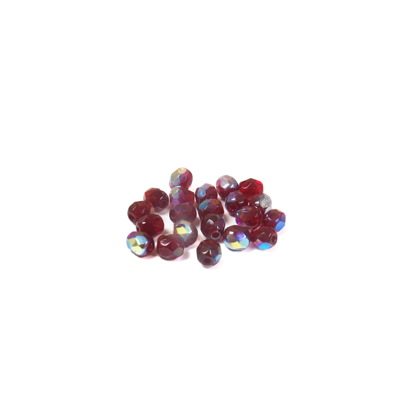 Garnet AB, Round Faceted Fire Polished; 4mm - 20 pcs