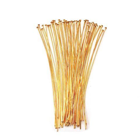 "Headpin, Gold Plated Brass- 3"" inches; 50pcs"