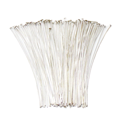 "Headpin, Silver Plated Brass-3"" approx.; 100pcs"