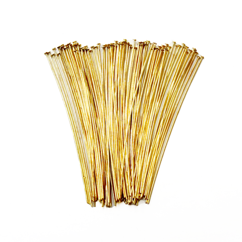 Headpin, Gold Plated Brass- 1.8 inch; 100pcs