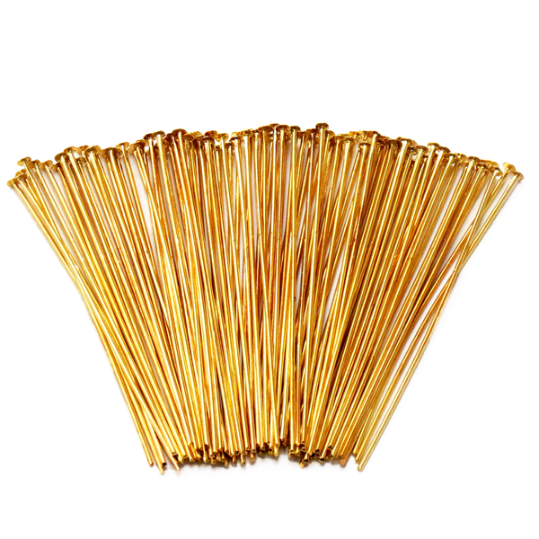 "Headpin, Gold Plated Brass-2.5"" approx.; 100pcs"