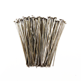 Headpin, Brass Nickel Color- 1.5inch; 100pcs