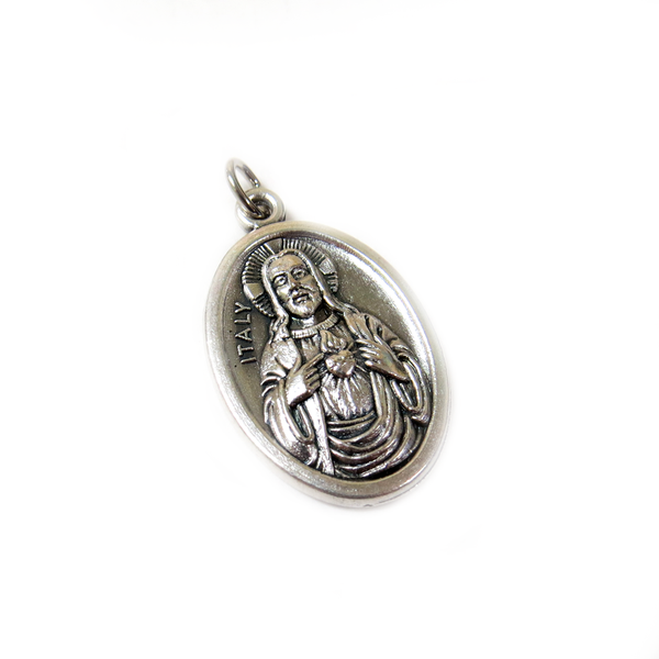 Jesus Italian Charm, Antique Silver, 25x16mm - 1 piece