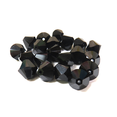 Swarovski Crystal, Bicone, 10MM - Jet; 20pcs