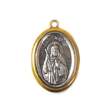 Saint Jude Pendant, Two Toned Religious Medal, 39x24mm - 1 piece