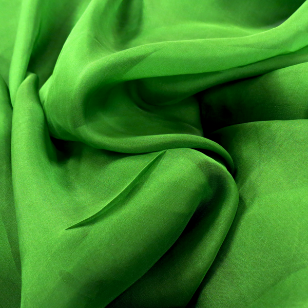 Kelly Green, 100% Natural Silk Chiffon Fabric, 56/58