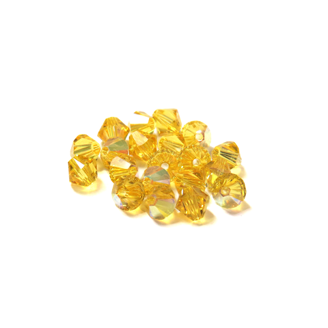 Swarovski Crystal, Bicone, 5MM - Light Topaz AB; 20pcs