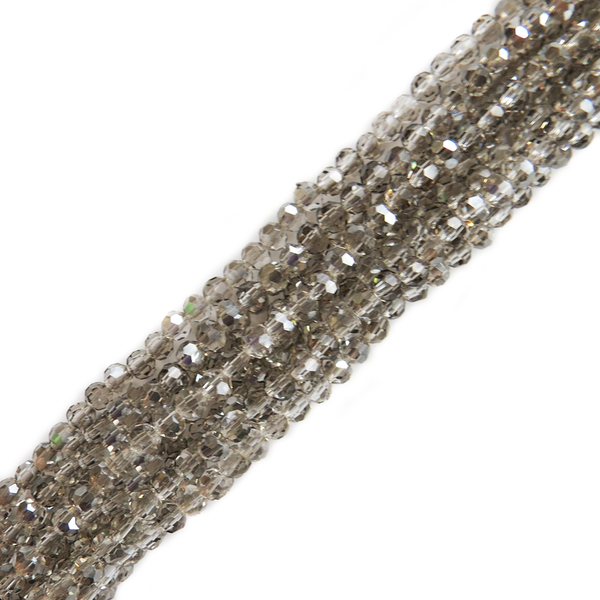 Light Grey, Round Faceted Glass Bead, 4mm; 1 strand