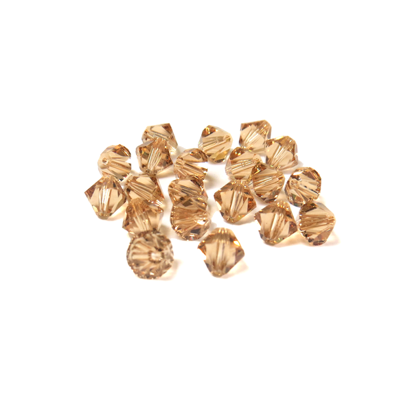 Swarovski Crystal, Bicone, 6mm - Light Colorado Topaz; 20 pcs