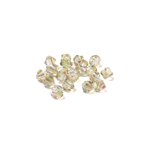 Swarovski Crystal, Bicone, 4mm - Luminous Green AB; 20 pcs