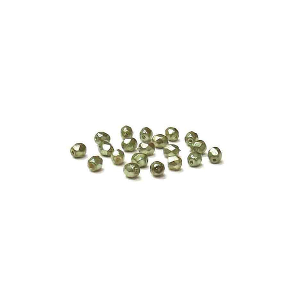 Metallic Green, Round Faceted Fire Polished; 4mm - 20 pcs