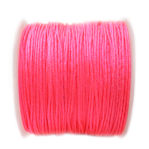 Nylon Cord, 1mm- Neon Pink; 60yards