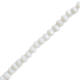 Opal White, Round Faceted Glass Bead, 4mm; 1 strand