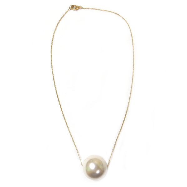 White Pearl Necklace, Gold; 1 piece