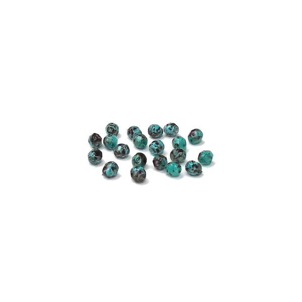 Picasso Turquoise, Round Faceted Fire Polished; 4mm - 20 pcs