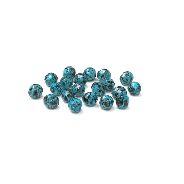 Picasso Turquoise, Round Faceted Fire Polished; 8mm - 20 pcs