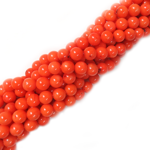 Smooth Round Pink Coral Beads, 10mm - 1 strand