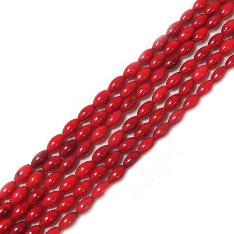 Rice Coral Bead, 8x5mm - 1 strand