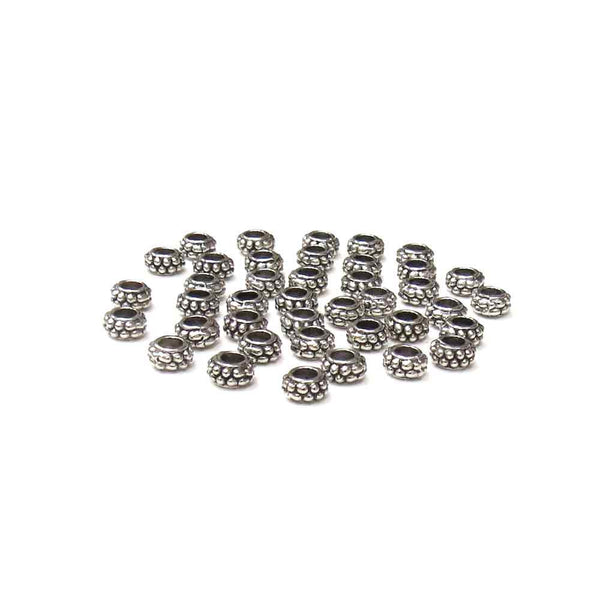 Round Spacer Silver; 6mm - 40 pcs