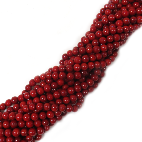 Red Coral Bead, 6mm - 1 strand