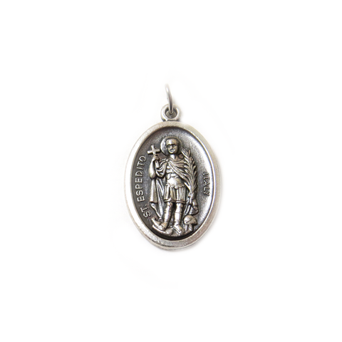Saint Espedito Italian Charm, Antique Silver, 25x16mm - 1 piece