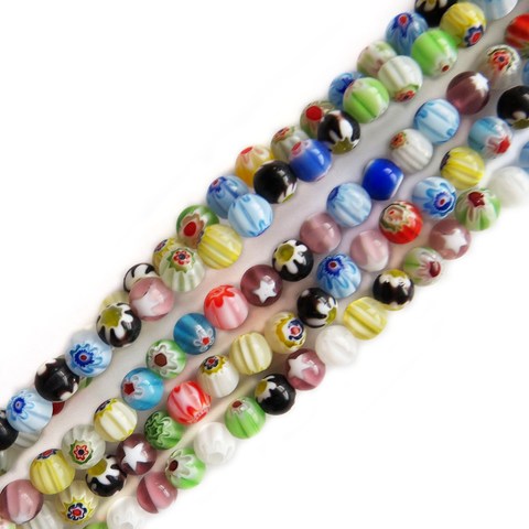 Small Round Millefiori, Multicolor, 6mm; 1 strand