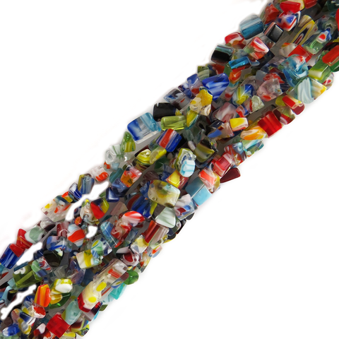 Free Form Millefiori, Multicolor, 2x5mm; 1 strand