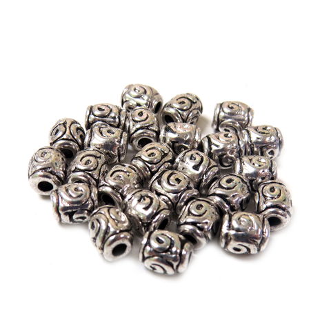 Barrel Spacer, Silver, 5mm - 25 pieces