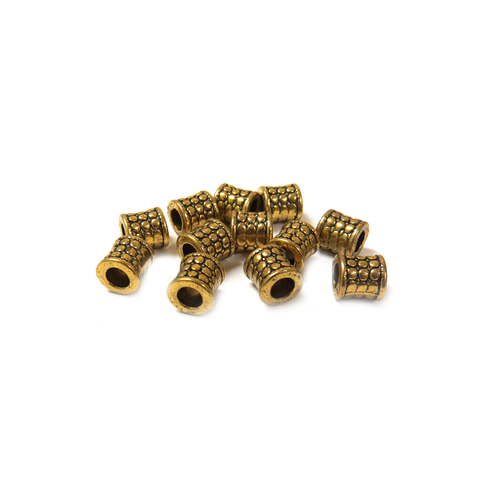 Barrel Spacer Beads with Circle Desing, Gold, 8mm - 12 pieces